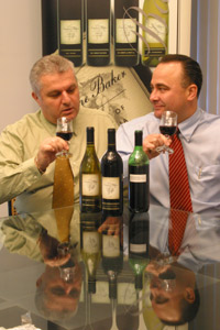 Frank Nardone and Patrick Baker tasting the latest vintage.